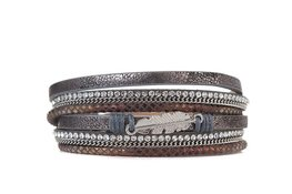 Armband feather donkergrijs