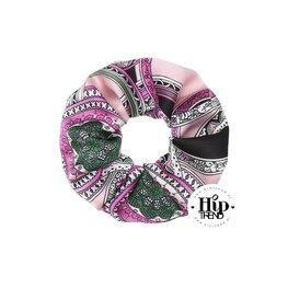 Scrunchie italic print roze
