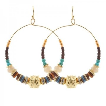 Earrings Beads -Bruin-