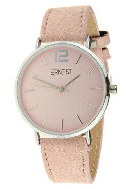 Ernest horloge zilver licht roze