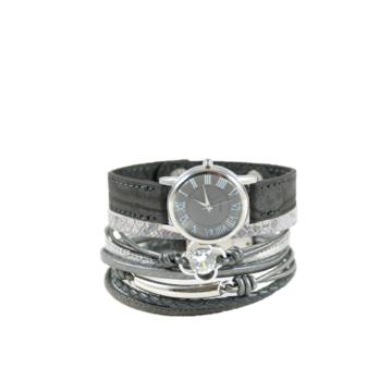 Armbanden set donker grijs flower