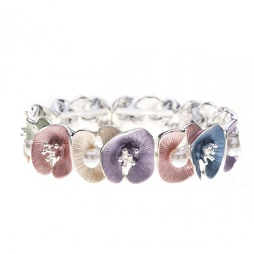 Luxe armband met bloemen en parels multi color
