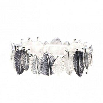 Luxe armband bladeren antraciet