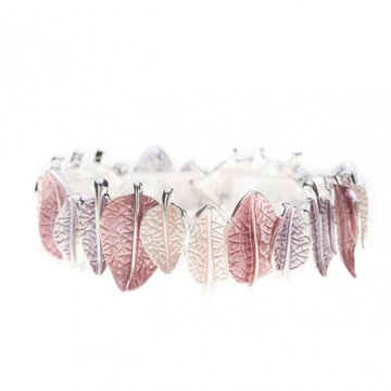 Luxe armband bladeren roze