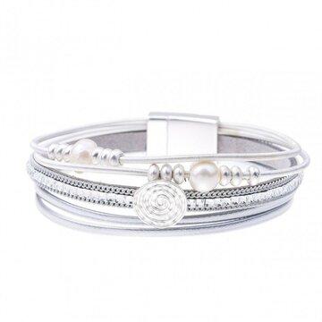 Armband pearl zilver licht grijs
