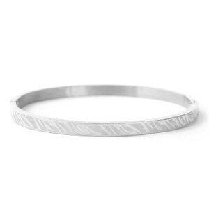 Stainless steel armband zebra print