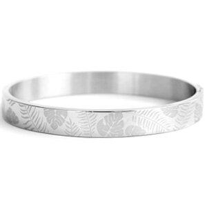Stainless steel armband leaf print
