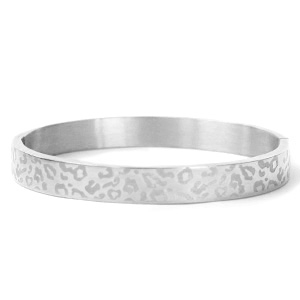 Stainless steel armband leopard print