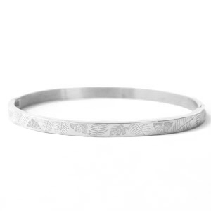 Stainless steel armband tropical leaf