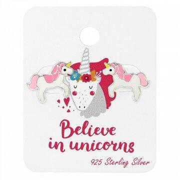 Zilveren unicorn kinder oorbellen