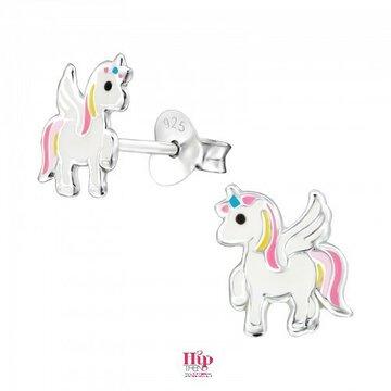 Gekleurde zilveren unicorn kinder oorbellen