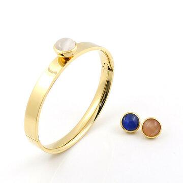Stainless steel goud kleurige armband met wisselstenen