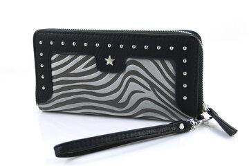 Zebra look portemonnee zwart grijs