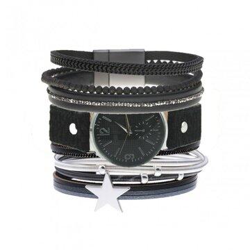Armbanden set zwart leopard