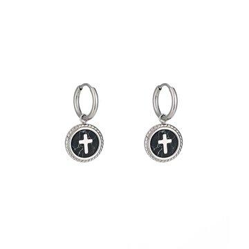 Stainless steel oorbellen kruis zilverkleurig rond met zwart