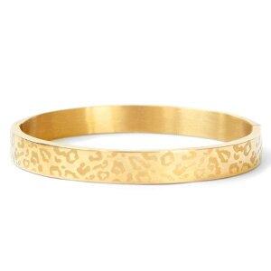 Stainless steel armband leopard print goudkleurig