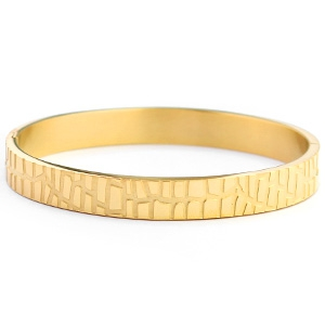 Stainless steel armband crocodillenprint goudkleurig