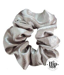 Scrunchie glans grijs zilver