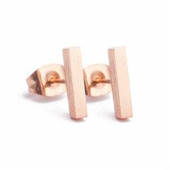 Rosekleurige stainless steel oorbellen