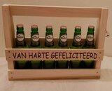 Houten Bier kratje met de tekst gefeliciteerd