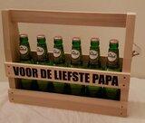 Houten Bier kratje met de tekst voor de liefste papa
