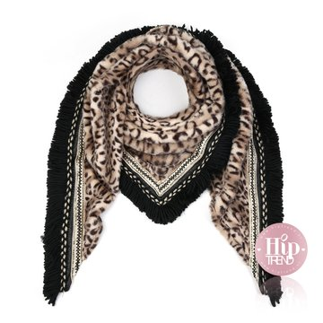 Leopard sjaal camel