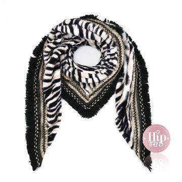 Leopard sjaal zwart