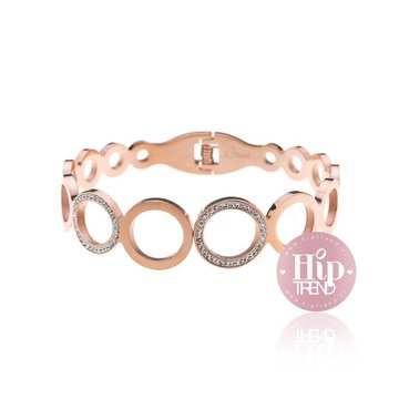 Stainless steel armband rond rose