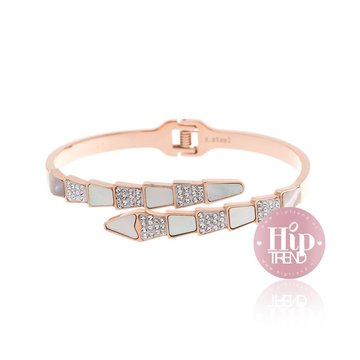 Stainless steel armband sparkling rose