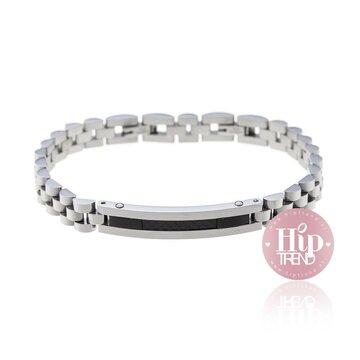 Stalen verstelbare armband zwart met zilver