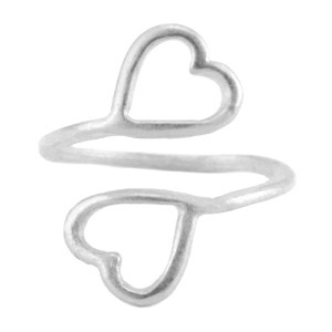 Metalen ring ster 16mm Antiek zilver