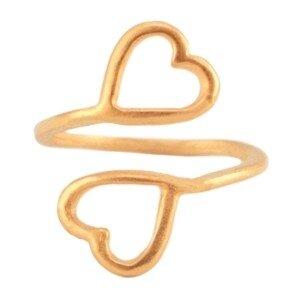 Metalen ring 2 hearts Rosé goud
