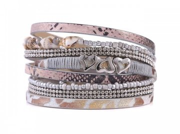 Wikkel armband seashell grijs