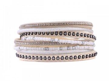 Wikkel armband classy wit/beige