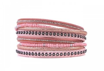 Wikkel armband classy roze