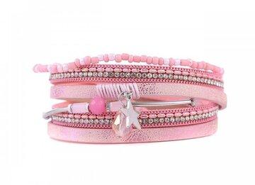 Wikkel armband lucky roze