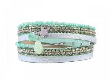 Wikkel armband lucky mint groen