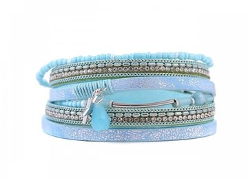 Wikkel armband lucky licht blauw