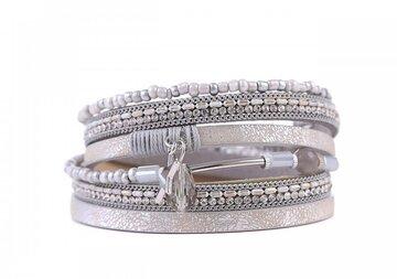 Wikkel armband lucky licht grijs