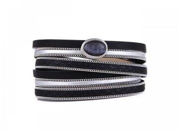 Wikkel armband stone black