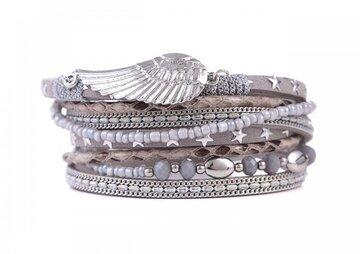 Wikkel armband wings grijs
