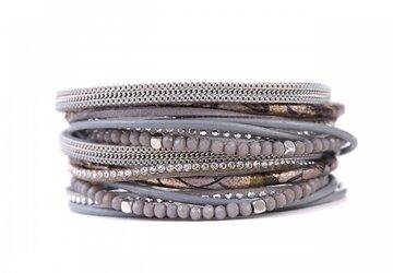 Wikkel armband happy licht grijs