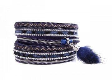 Wikkel armband chic donker blauw