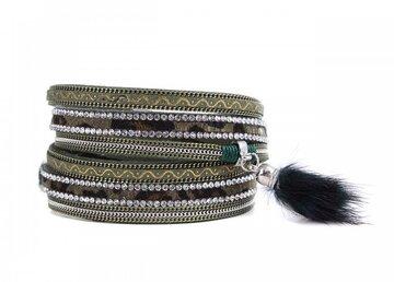 Wikkel armband chic donker groen