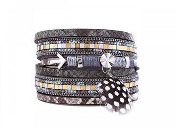 Wikkel armband ibiza grijs