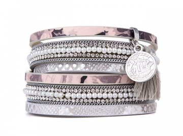 Wikkel armband love zilver