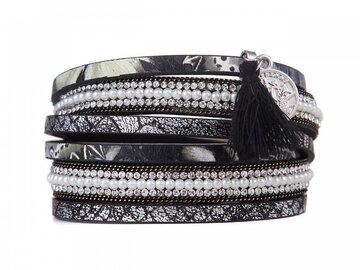 Wikkel armband love black