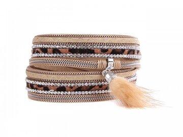 Wikkel armband chic bruin/beige