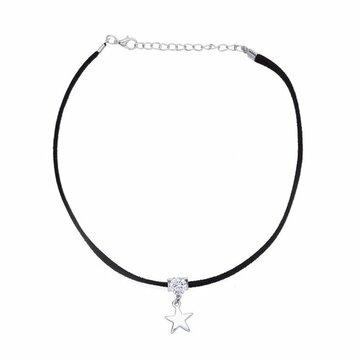 Choker necklace Zwart-zilver ster