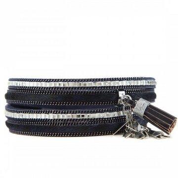 Armband sparkling donker blauw